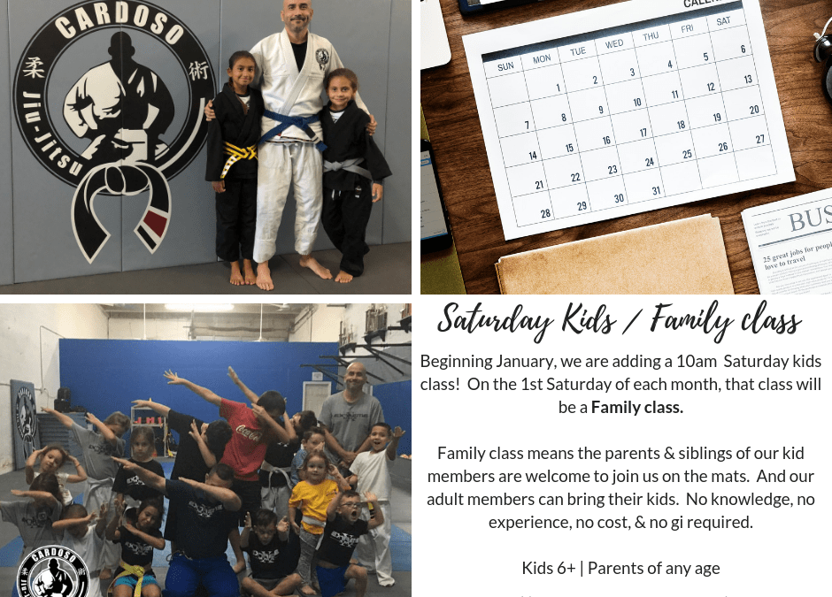 New Saturday Kids (and Family) Class to begin in January